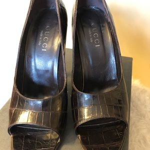 Gucci Exotic leather Crocodile size 7 Dark Brown